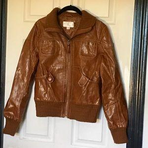 Xhilaration Large Faux Leather Tan Jacket